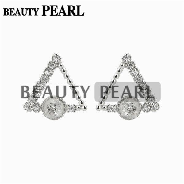 Triangle Earrings Pearl Semi Mount Zircon 925 Sterling Silver DIY Jewelry Findings Earring Base
