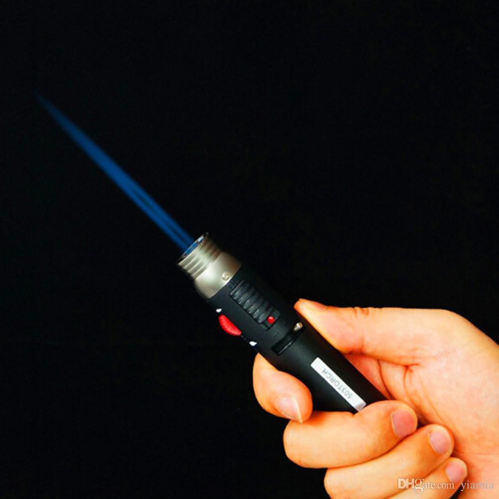 Vente chaude en plein air briquet 1300degree torche jet flamme crayon gaz butane rechargeable carburant soudure soudure stylo livraison gratuite