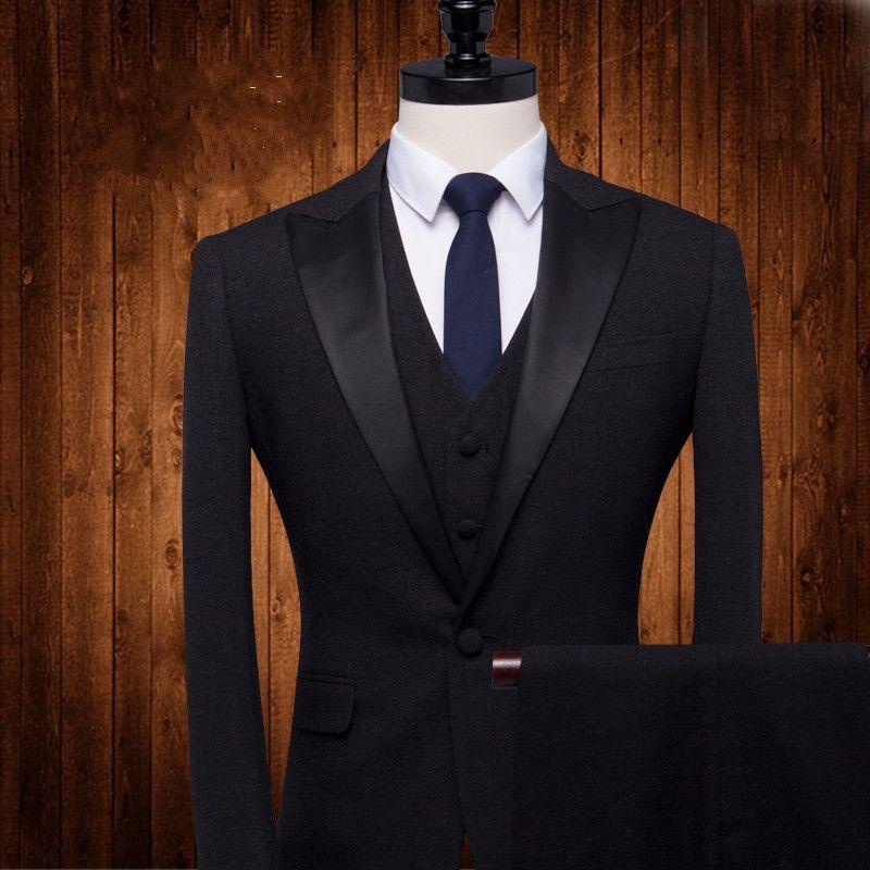Slim Fit Black Three Pieces Groom Wedding Tuxedos Wedding suits for men business Suit best men SuitJacket+Vest+Pants