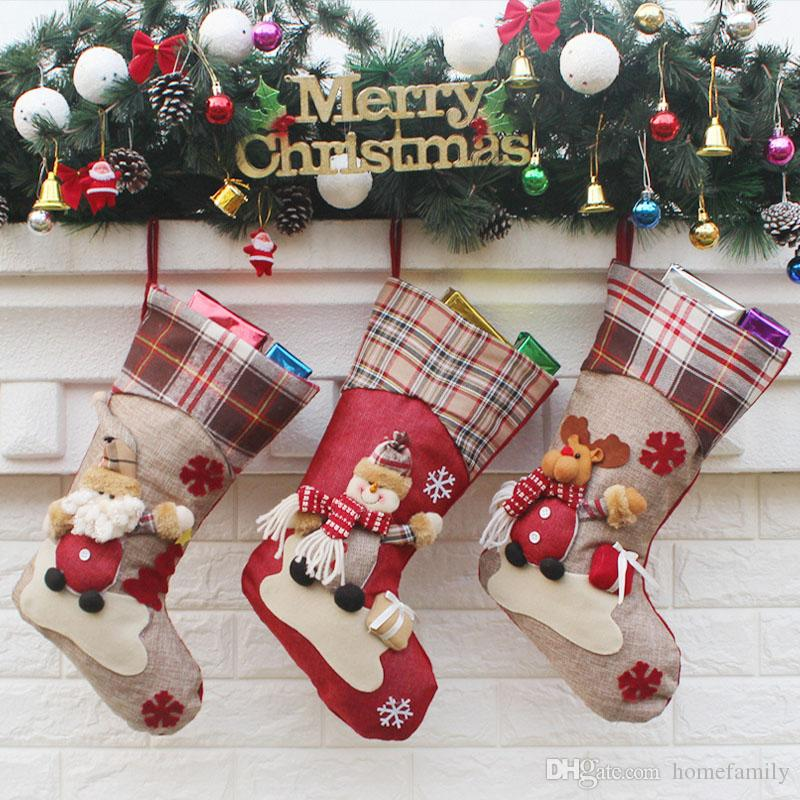 c7e65fcbba8e Christmas Socks Santa Claus Snowman Gift Bags Christmas Decorations Happy  New Year Decorations Merry Christmas Decorations Christmas Decorations For  Sale ...
