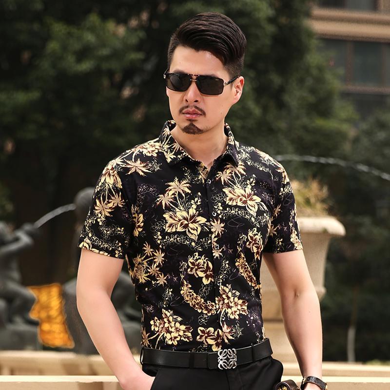 9c371945e81 Compre Atacado Verão Novo Estilo De Moda Havaiano Flores Tropicais Camisa  Dos Homens De Manga Curta Homem Verão Floral Camisa De Splendid99