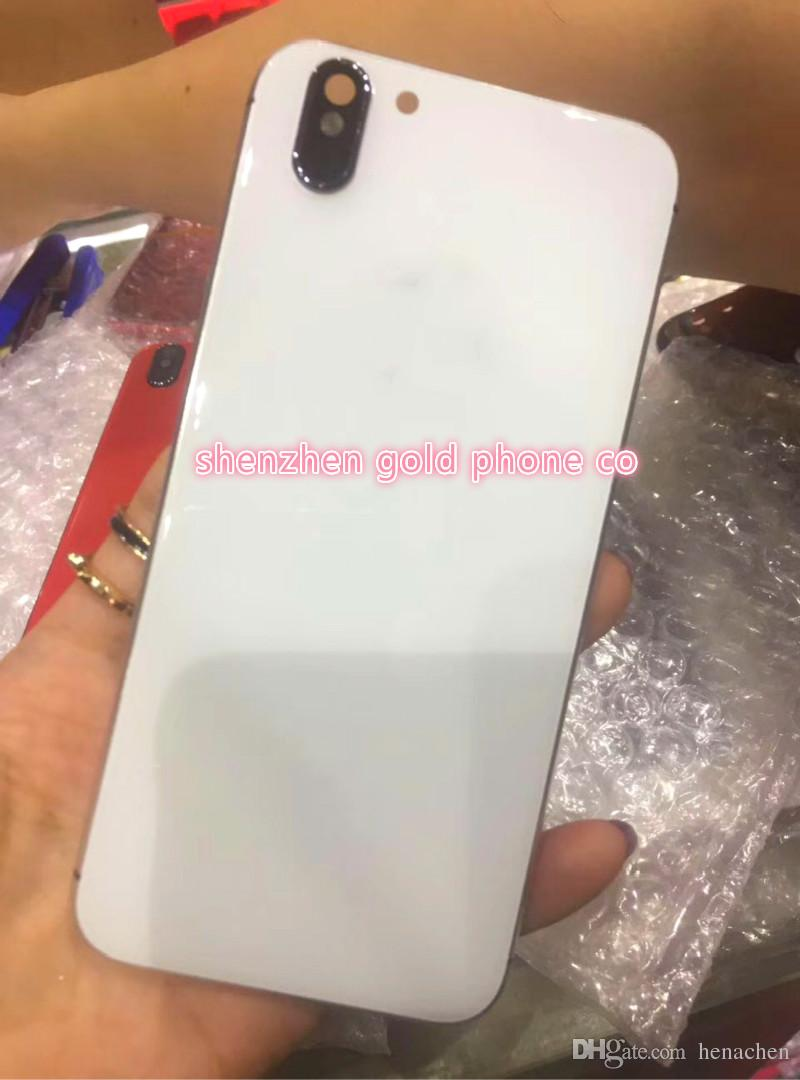 buy online 37482 830ad For iPhone 6 6S Plus Rear Housing Like iPhone X Style Battery Door Black  Red Metal Glass Back Cover with Logo Side Keys with outlooking