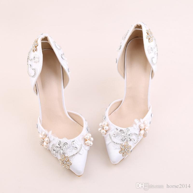 610aeaeafd4 ... Bridal Wedding High Heels Rhinestone With Pearls Decoration Girl Shoes  Light Gold Wedding Shoes Light Pink Bridal Shoes From Horse2014