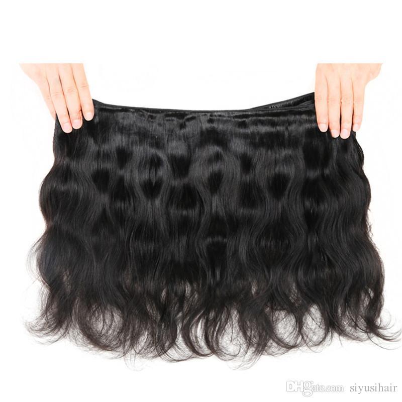 Pelo brasileño malasio peruano de la Virgen de la onda del cuerpo del brasileño con el cierre del cordón del paquete del pelo humano del cierre 3 o 4 paquetes con el cierre