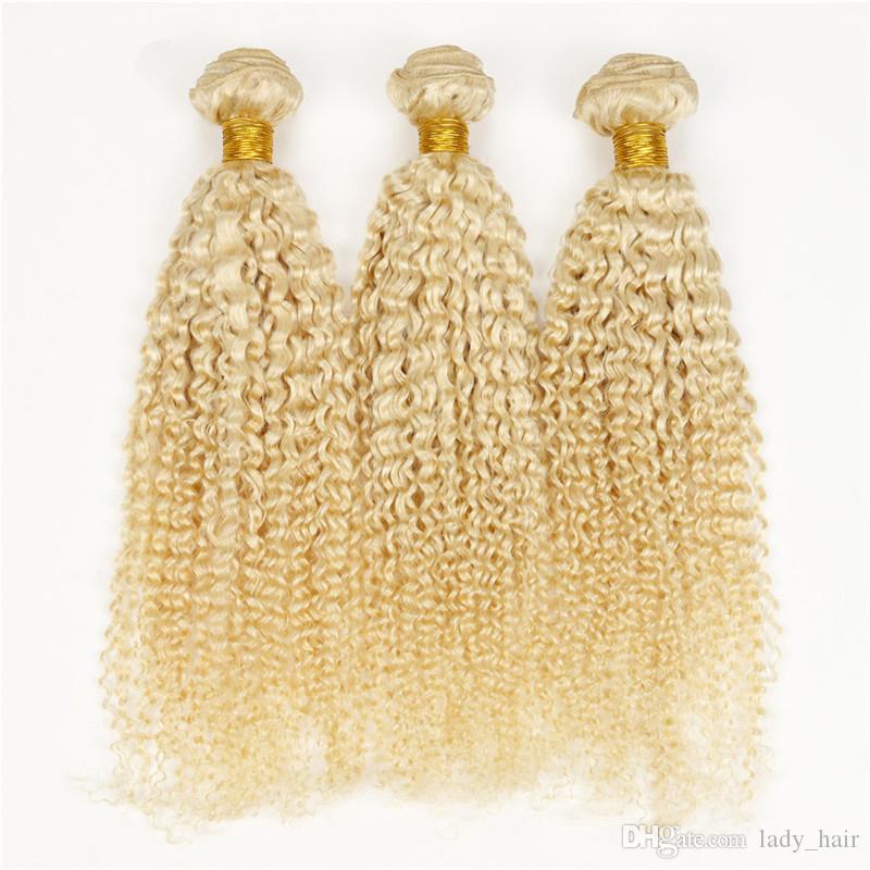 최고 품질의 버진 브라질의 곱슬 곱슬 금발의 인간의 머리카락 # 613 금발 브라질의 머리카락 번들 번식 곱슬 곱슬 더블 Wefts 확장