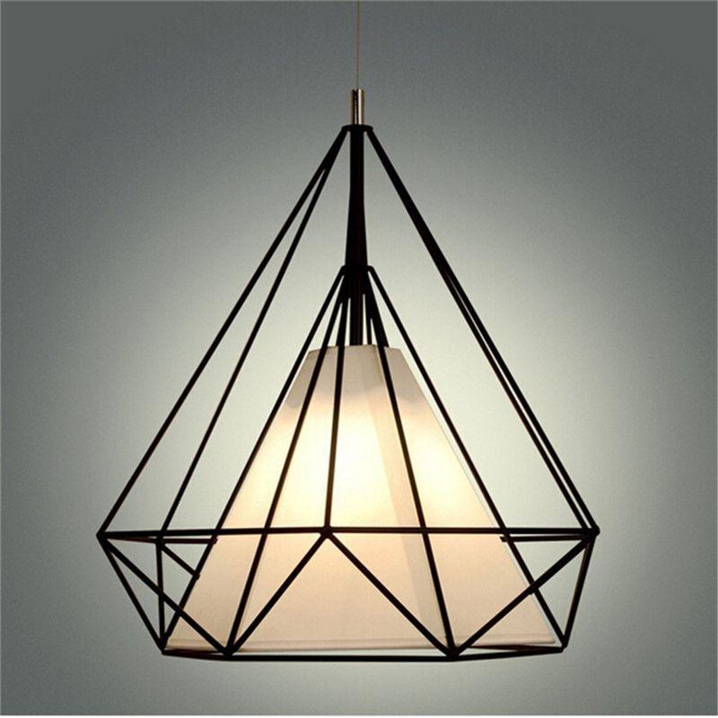 Vintage Retro Industrial Ceiling Light Loft Bird Cage Pendant Lighting Art Diamond Pyramid Pendant Lamps for Kitchen Dining Room Bar Hallway