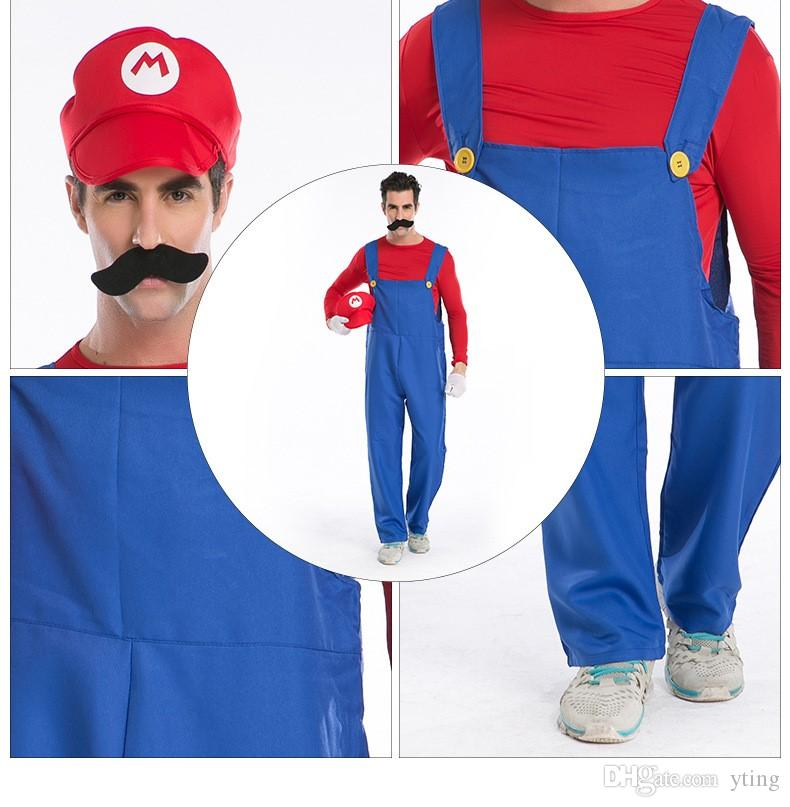 costumes family Halloween Costumes Men Super Mario Luigi Brothers Plumber Costume Jumpsuit Fancy Cosplay Clothing for Adult Men