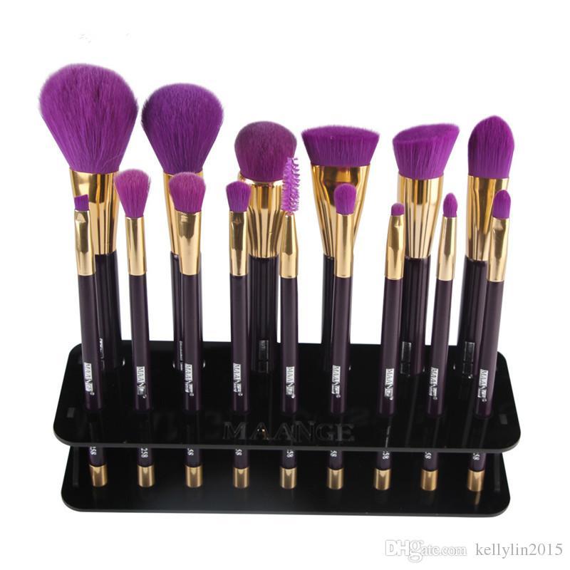Acrylic Makeup Brushes Holder Stand 15Hole Storage Boxes Cosmetic Organizer Tools Brush Showing Rack Make up Brush Display Shelf