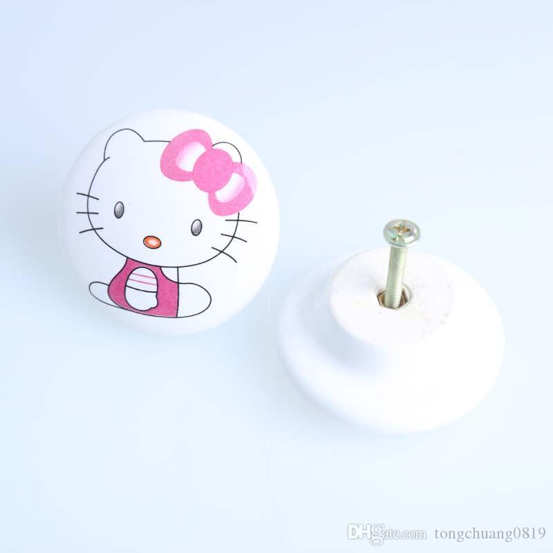 50mm bianco rosa gatto ceramica tiro in porcellana cassetto cassetto cassetto cabinet manopola bambini bambini mobili bambini