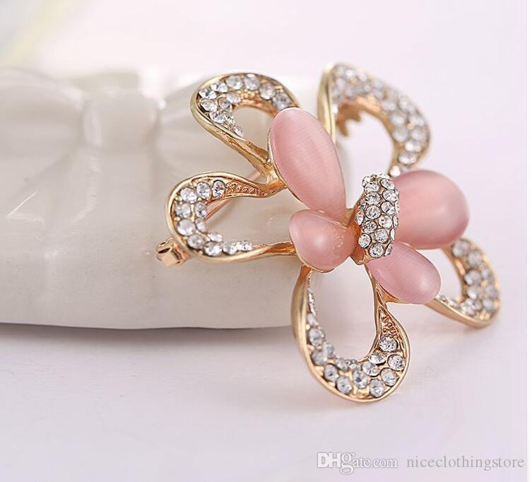 Fashion Jewelry Brooches Crystal Rhinestone Stones Five Leaves and flowers opal beautiful butterfly Brooch Corsage Scarves buckle