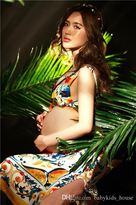 Hamileler İçin Yeni Hamile Elbise ateş Fotoğraf Annelik Kıyafeti şifon Elbise Seksi Hamile Fotoğrafçılık aksesuvar
