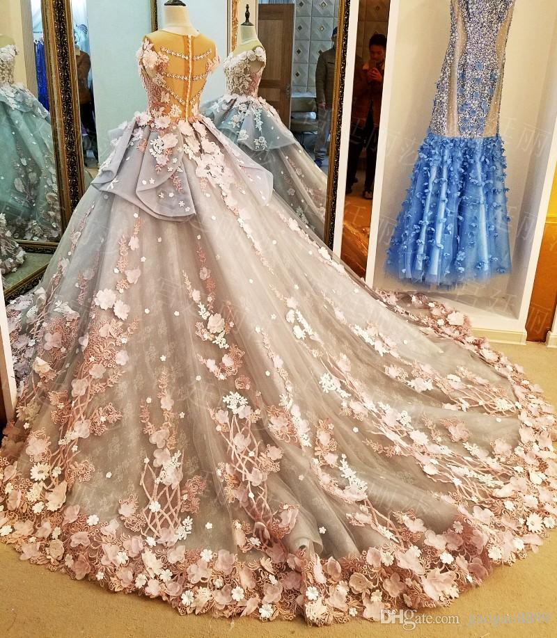 Vintage fatto a mano fiore modesto abito da sposa abiti da sposa con maniche 2019 illusione collo cattedrale treno principessa giardino nuziale abito da sposa