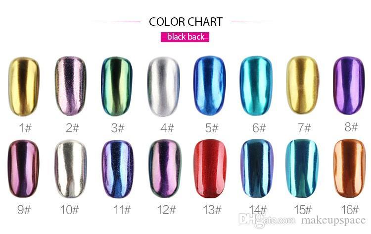 16 색 매니큐어 파우더 거울 효과 반짝이 파우더 네일 아트 샤이니 반짝이 폴리쉬 미러 파우더 광택 피그 네일 포드 버