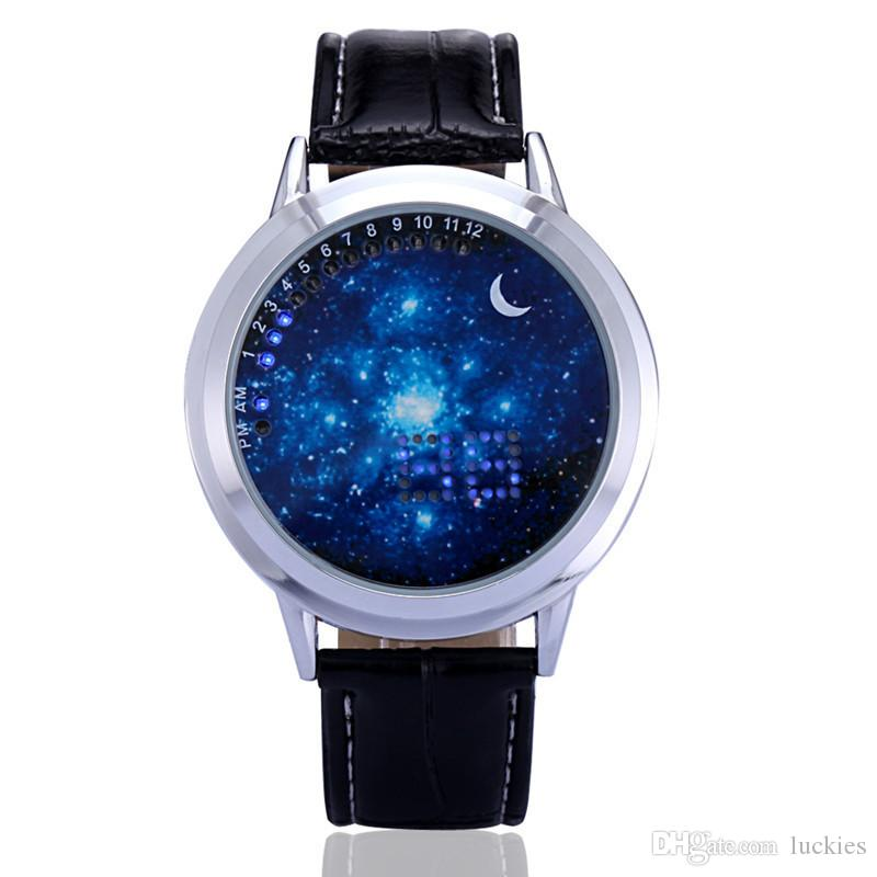 Fashion Digital LED Touch Screen Watches Starry Star Moon PU Leather Wristwatch Men Women Unisex Creative Casual Gift Watches Watches