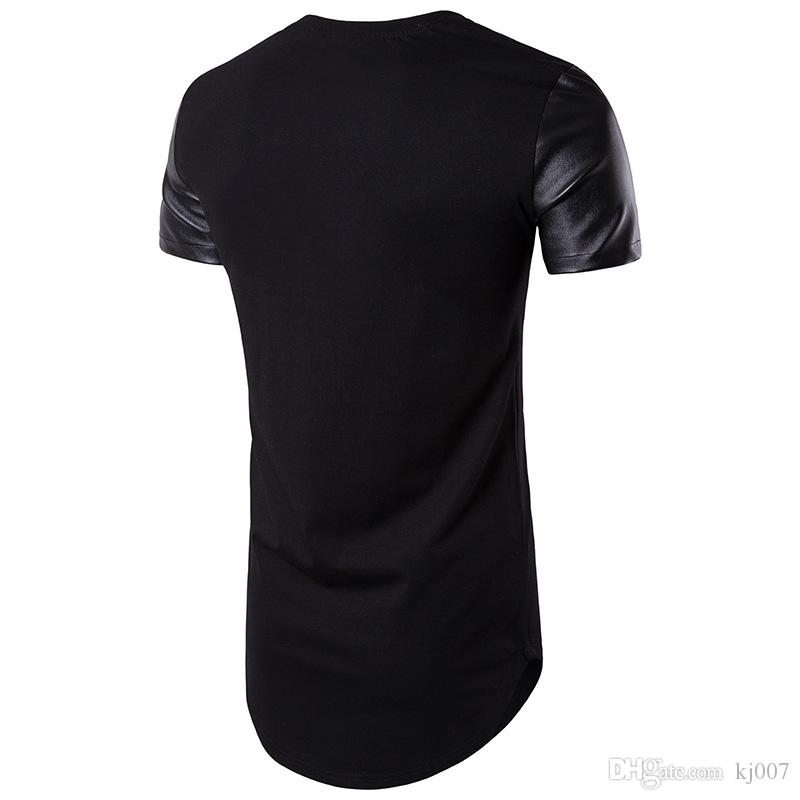 2019 Fashion Leather T Shirts For Men Brand Designer Tees Short Sleeve Summer Pop T Shirt Wholesale