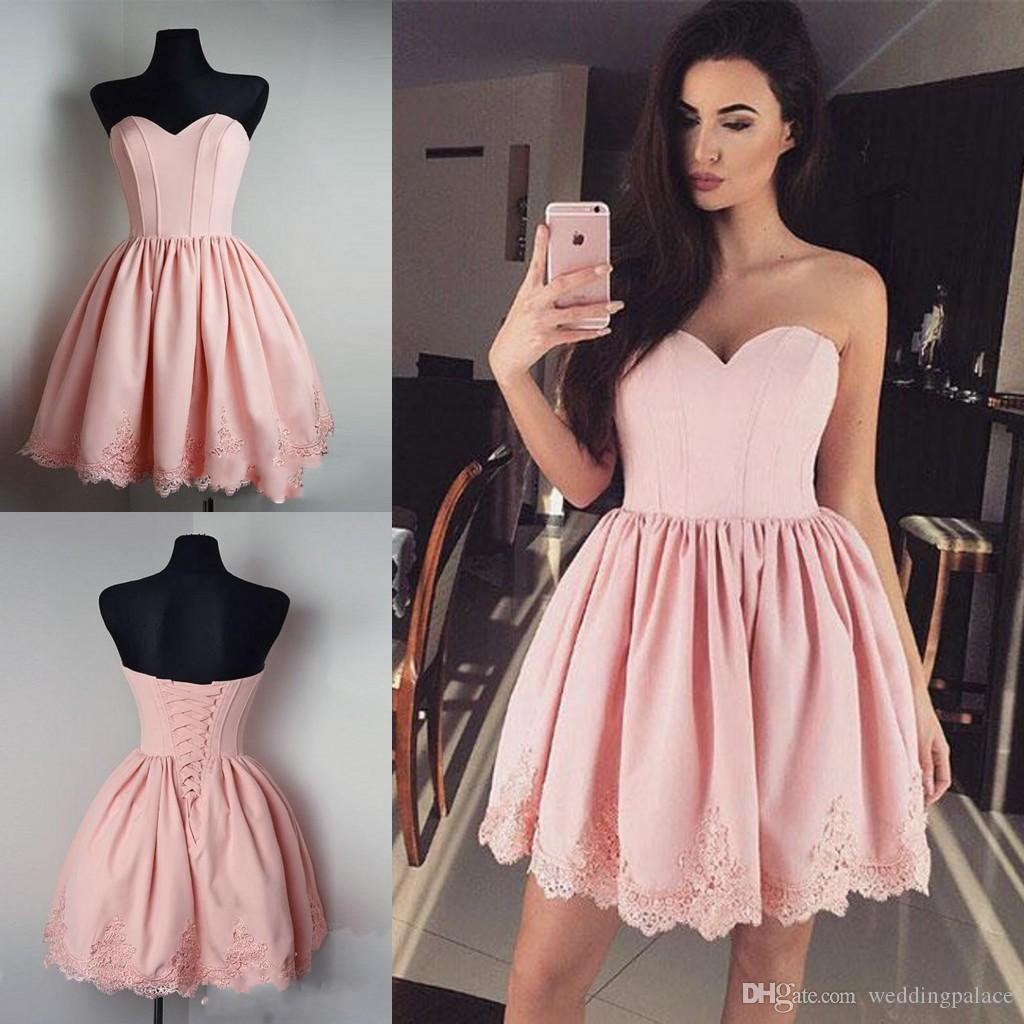 Cute Sweetheart Mini Short Prom Dresses A Line Lace Up Back Pink ...