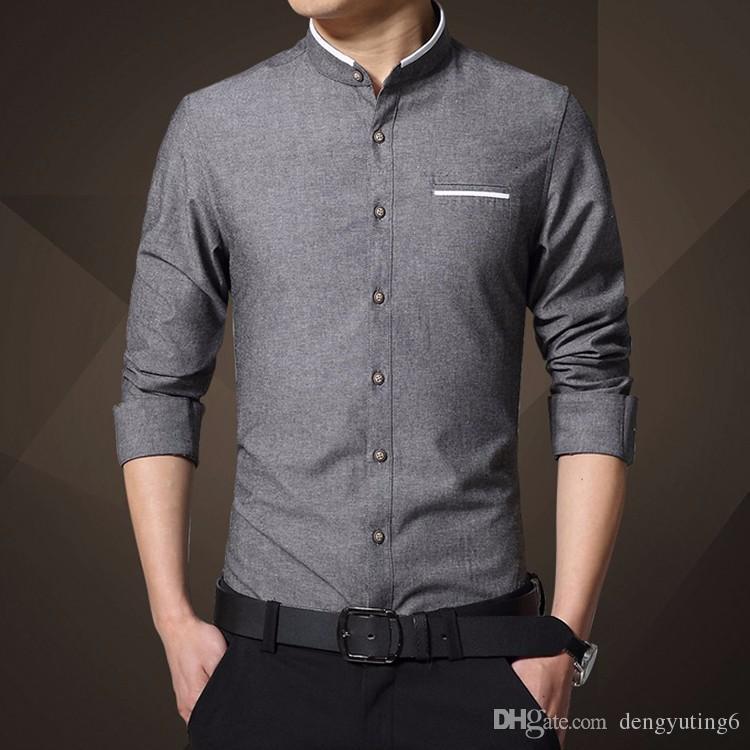 2017 New Fashion Casual Men Shirt Long Sleeve Mandarin Collar Slim ...