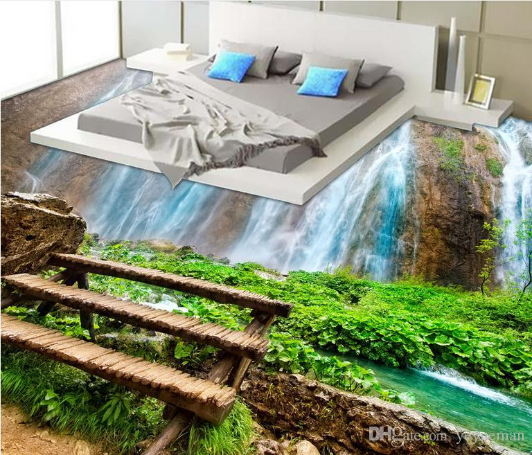 3d stereoscopic floor murals self adhesive wallpaper custom floor tiles Waterfall streams wallpapers for living room bathroom