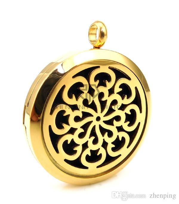 Collana rotonda con medaglioni di aromaterapia in argento e oro 20-30mm