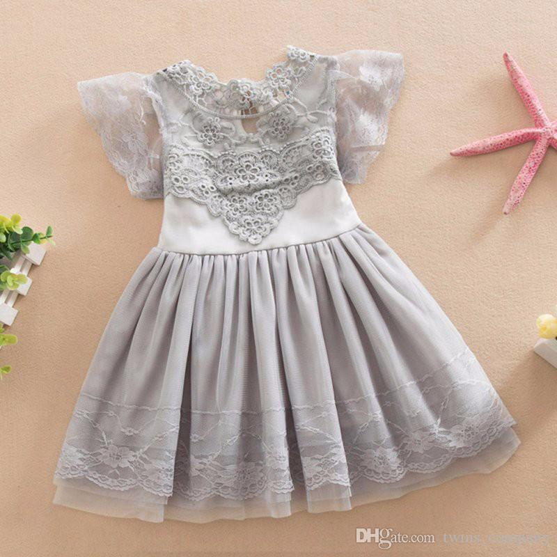 9bdc37ec0a28 2019 2017 Baby Girl Lace Tutu Dress Summer Hollw Out Sundress Kids ...