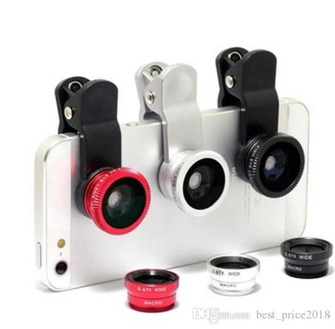 3 in 1 iphone 6 6s lens set fisheye samsung microscope fish-eye lens telescope wide angle lens for all samsung iphone ipad lg with clip