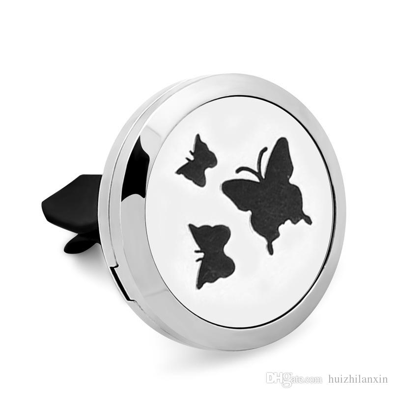 3 Butterflies 316L Stainless Steel Car Perfume Locket For 30MM Essential Oil Diffuser With Free Pads