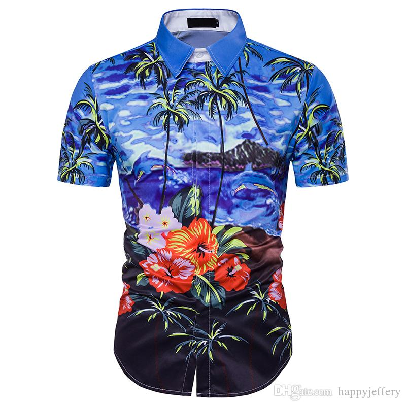 2019 New Arrival Mens Hawaii Shirts Imported Clothing Shirt Men Hawaiian  Style Palm Floral Imprint DC47 From Happyjeffery a60028a6950d5