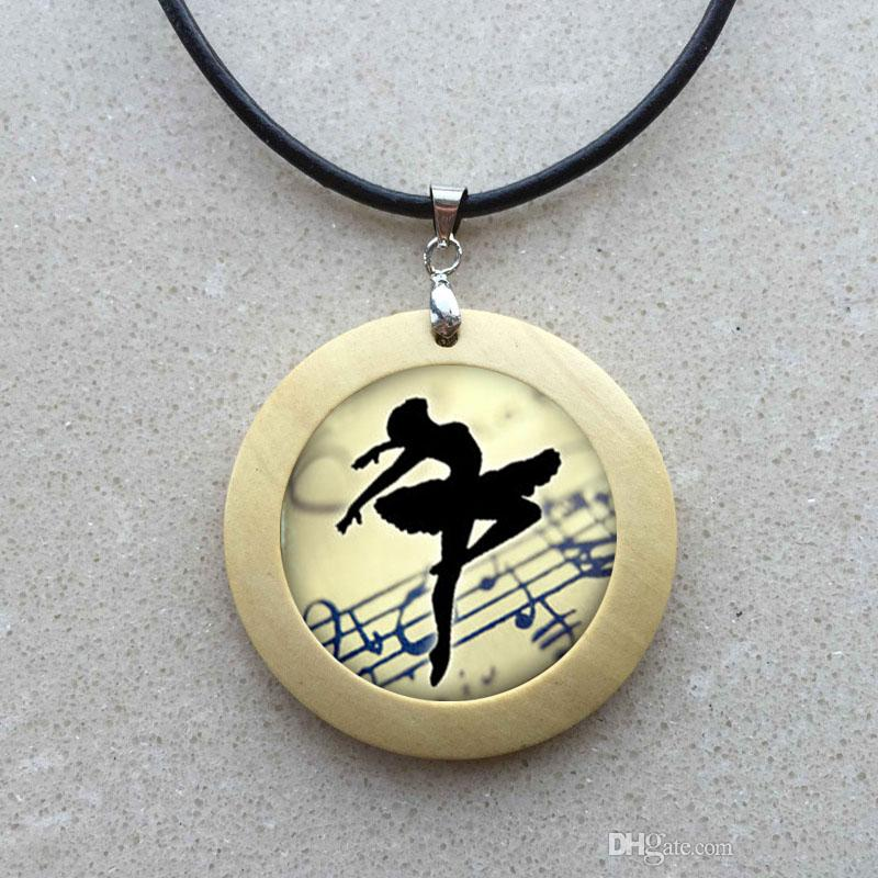 Art Collage Ballerina Dancing Glass Cabochon Pendant Necklace Vintage Bronze Chain Necklace for Women Jewelry Dance Teacher Gift