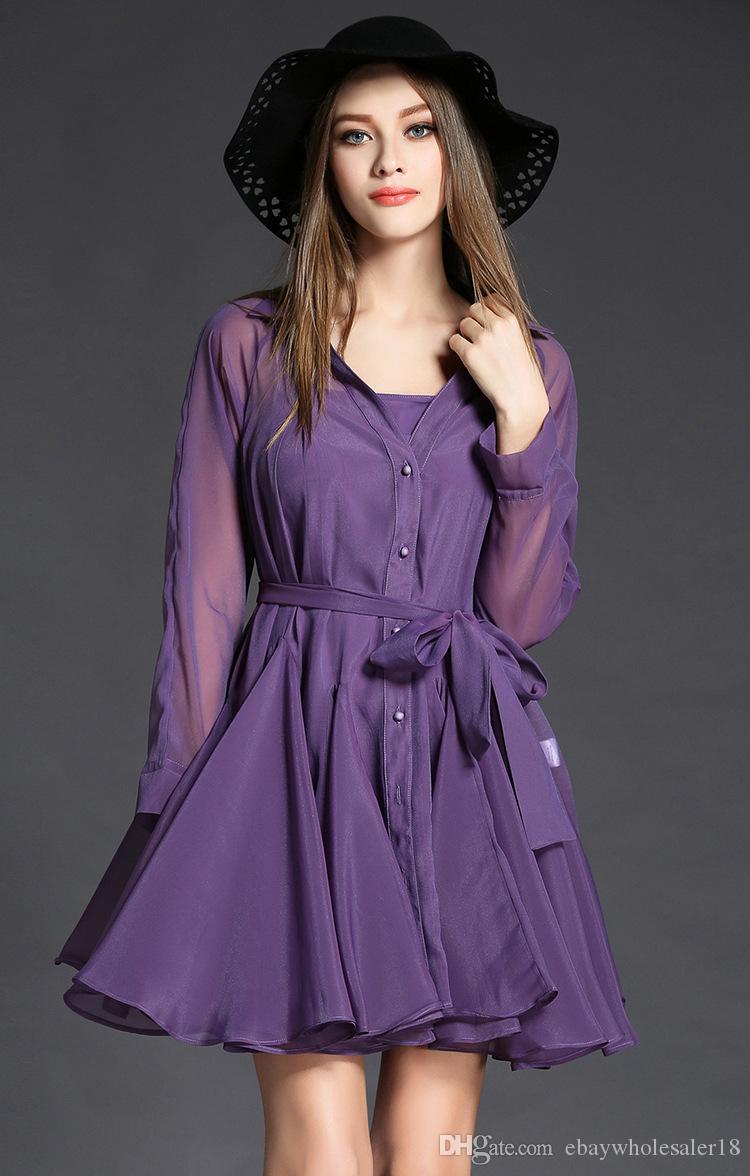 Compre Diseñador De Las Mujeres Púrpura Camisa Vestidos 2017 ...