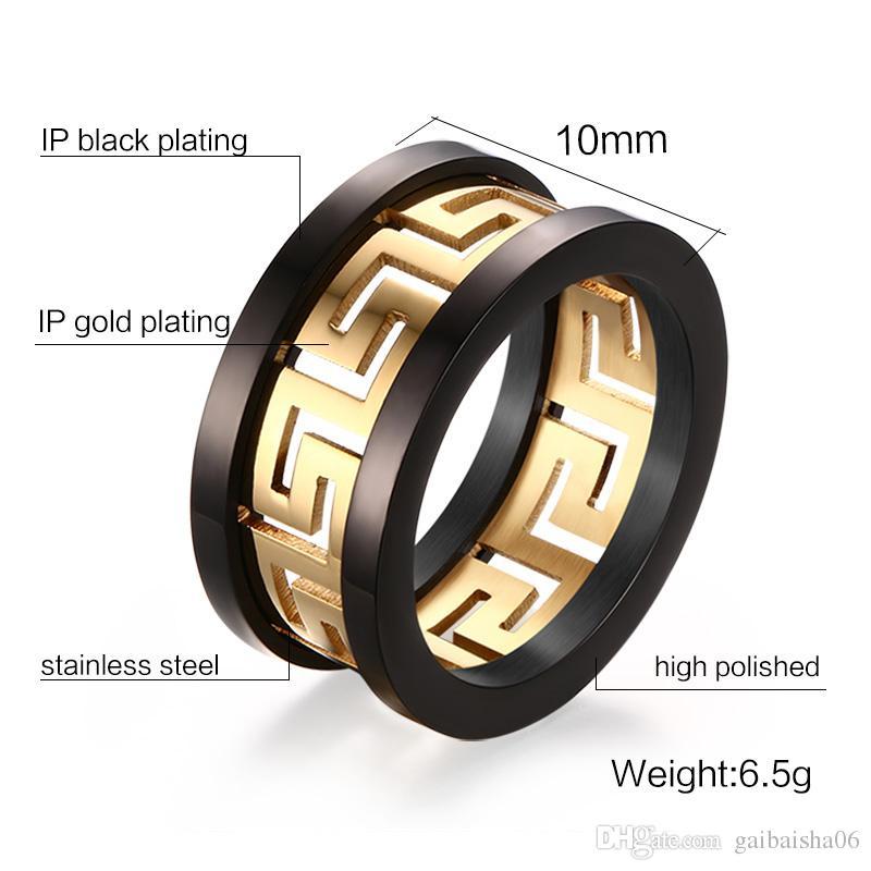 Trendy Yunan Anahtar Yüzükler Takı Erkek Titanyum Çelik Altın Renk Yüzük Yüksek Cilalı Siyah Accent Charm Yüzük R-170