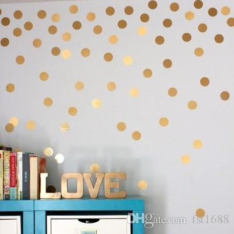 4038 Gold Polka Dots Wall Sticker Baby Nursery Stickers Children Removable  Wall Decals Home Decoration Art Vinyl Wall Art Removable Wall Decals For  Living ...