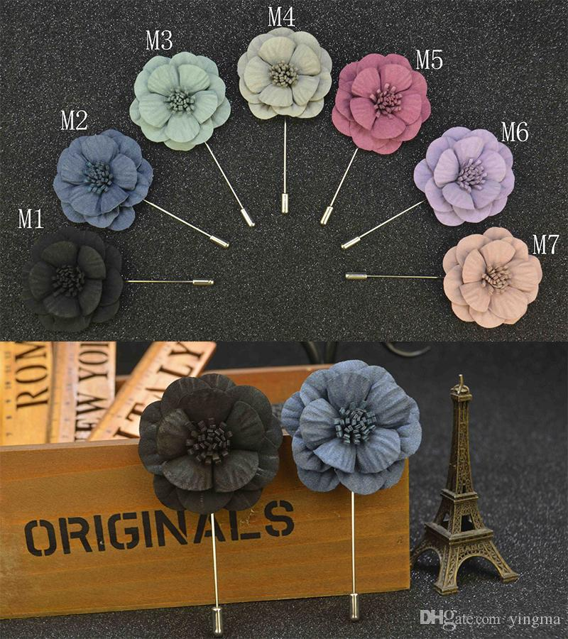 New fashion Men Brooch Flower Lapel pin suit Boutonniere fabric yarn pin button Stick Brooches Broches for Groomsmen wedding gift
