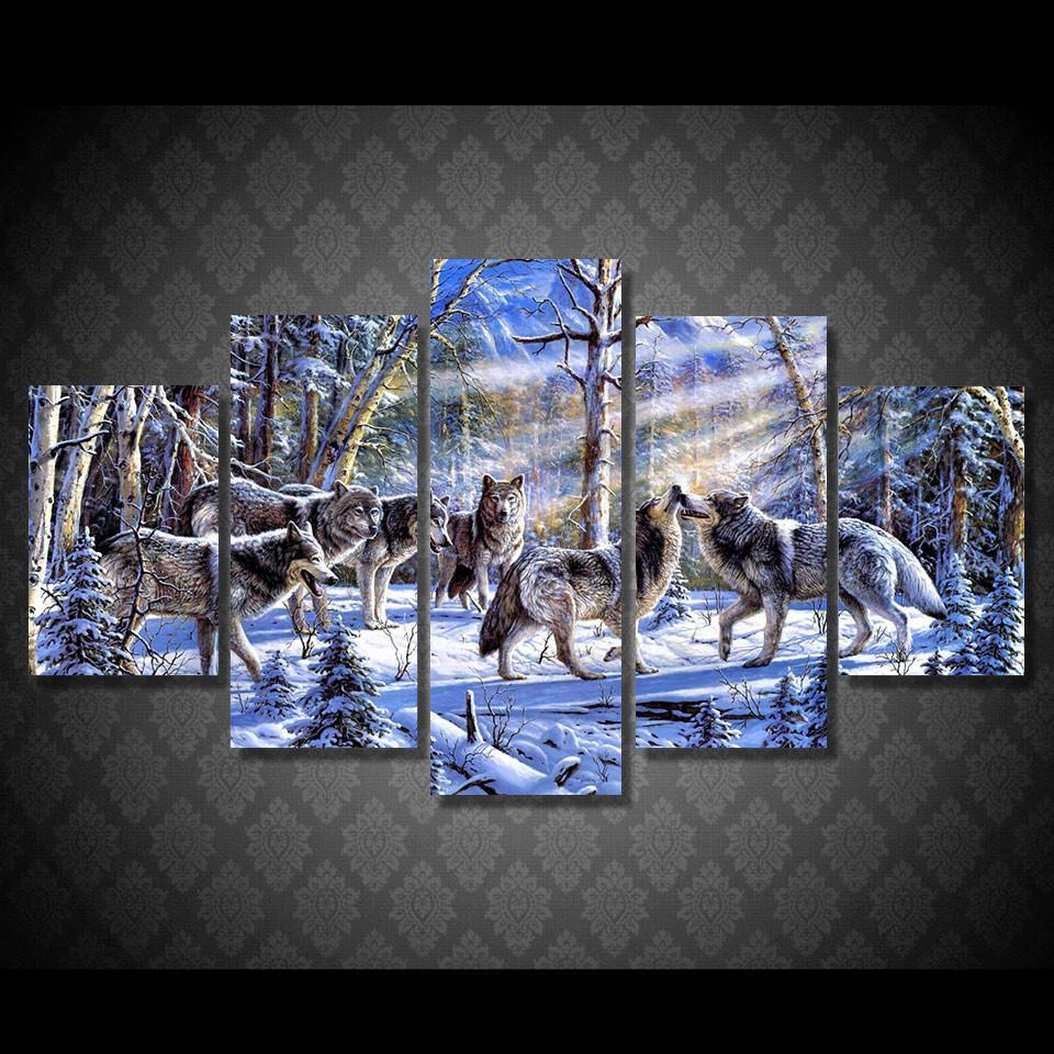 Compre 5 Piezas / Set Enmarcado Hd Impreso Lobos En La Nieve Imagen ...