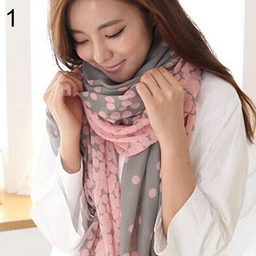Wholesale- High Quality Women's Long Candy Gradual Color Round Dots Scarf Shawl Twines Stole Soft Scarves 2 Colors