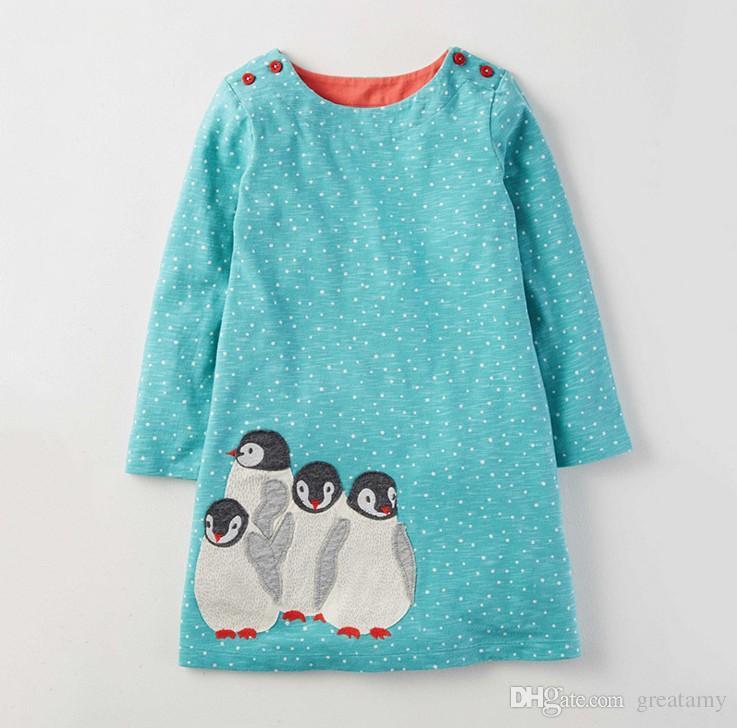 Robe Enfant Girl Dress Abbigliamento bambini Marca Autunno Princess Dress Baby Tunica Animal Appliques Ragazze Jersey Abiti bambini