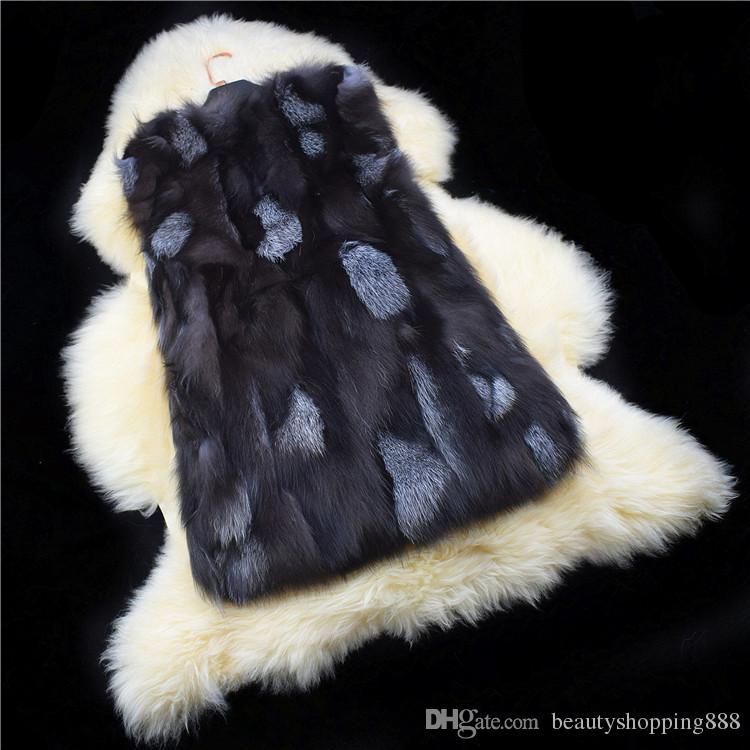 Женской осень зима роскошь настоящей природная лисица полного шкура градиент цвет мех рукава пальто жилет теплая средняя длиной casacos