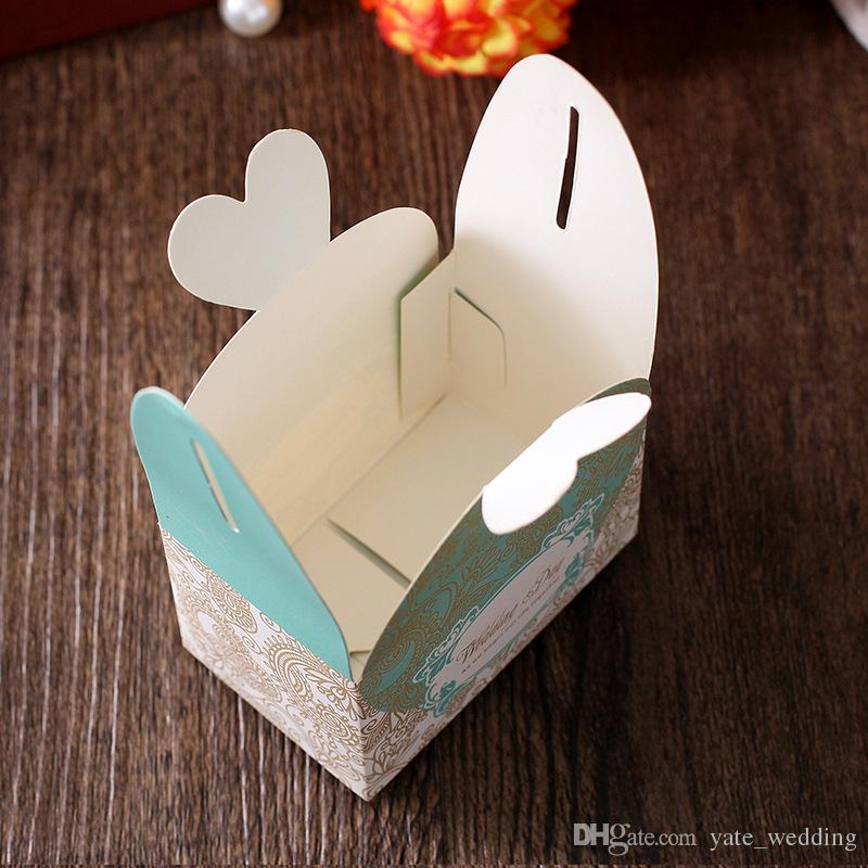 Caselle di caramella di cerimonia nuziale più economiche Casella di bombarda della carta di gradi della menta del rettangolo della menta porpora i regali in magazzino