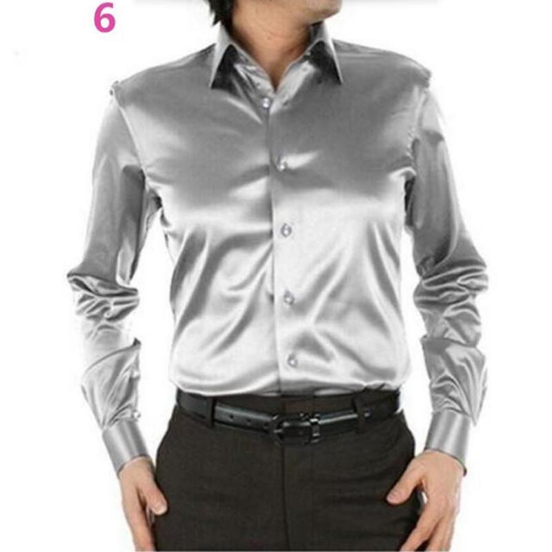 d4fec4a9ccb4 Оптово-Мужская рубашка на заказ Повседневные костюмы Шелковый атлас с  длинным ...