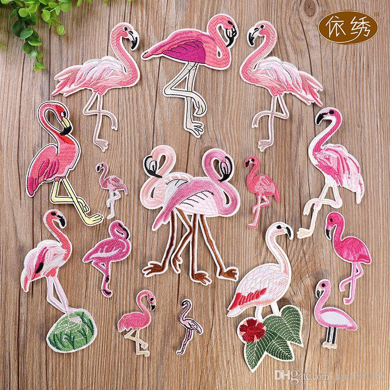 Mix 15PCS Flamingo Cheap Cute Patches Embroidered Iron on Applique Military Patch For ClothIing DIY Appliques Accessory DIY Stricks