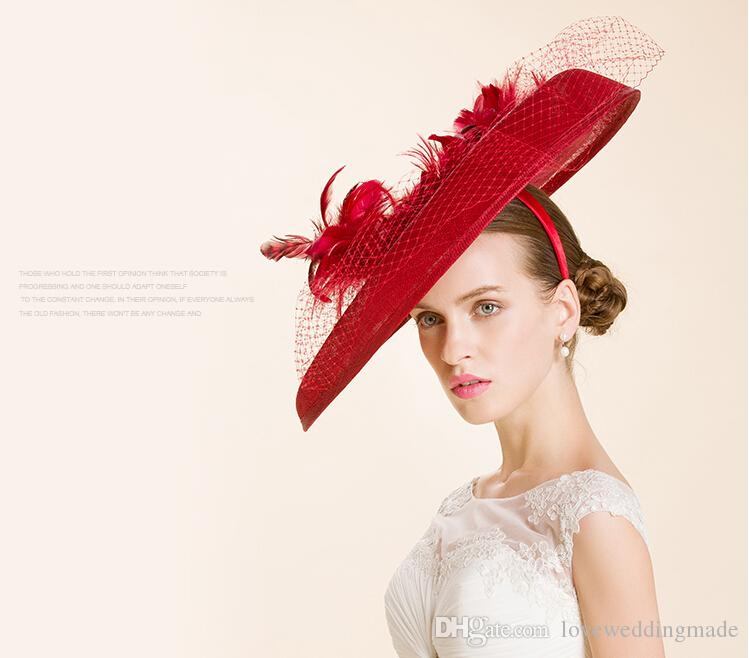 High Quality 2017 Big Red British Women Sinamay Yarn Small Hat Dance / Banquet / Holiday Cap Wedding Bridal Hats With Real Feather