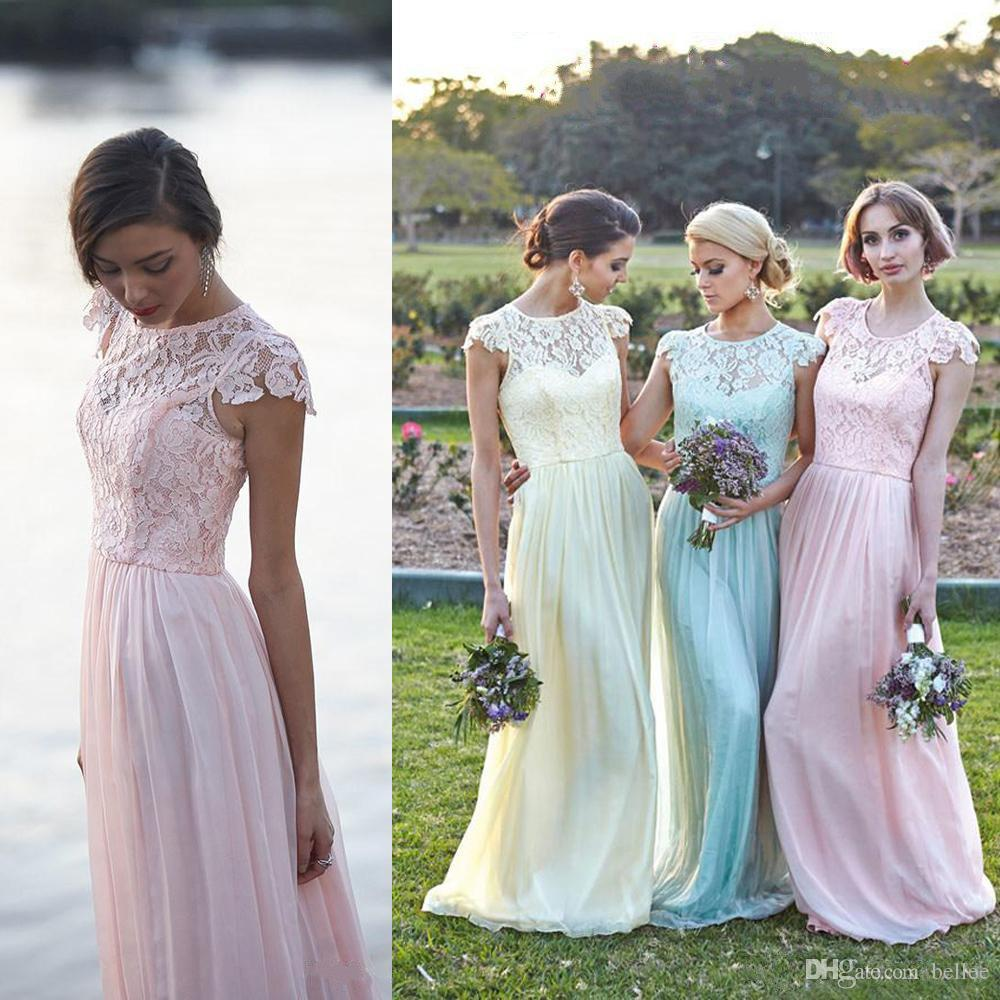 2017 boho beach bridesmaid dresses a line jewel cap sleeve floor 2017 boho beach bridesmaid dresses a line jewel cap sleeve floor length bridesmaid gowns with lace chiffon wedding party gowns peacock blue bridesmaid ombrellifo Choice Image