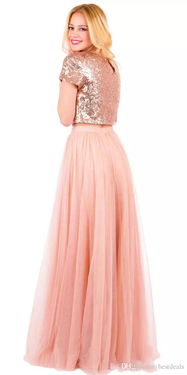 2017 vintage rose gold two pieces vestidos de dama de honra lantejoulas maid of honor vestido de tule longo vestidos de festa de formatura