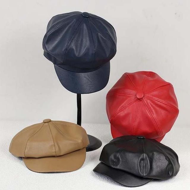 Online Cheap Wholesale 2015 Hot Sale Women Black Pu Leather Hat Male  Women S Octagonal Cap Beret Pu Baseball Cap Winter Faux Leather Femme Beret  Hats By ... 18b61596ea34
