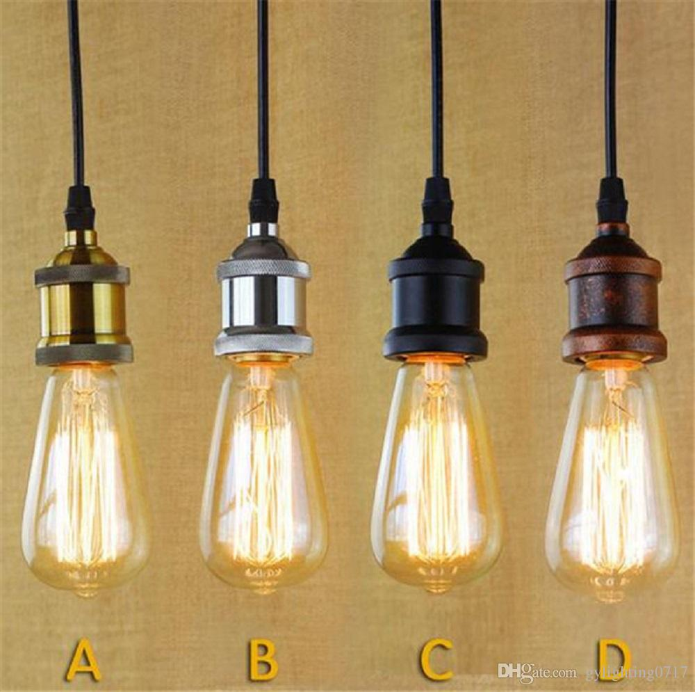 antique pendant lighting. Brass Chrome Silver Black Rustic E27 Aluminum Antique Retro Vintage Screw Bulb Base Lamp Holder Pendant Lighting Socket Light Adaptor Pulley S