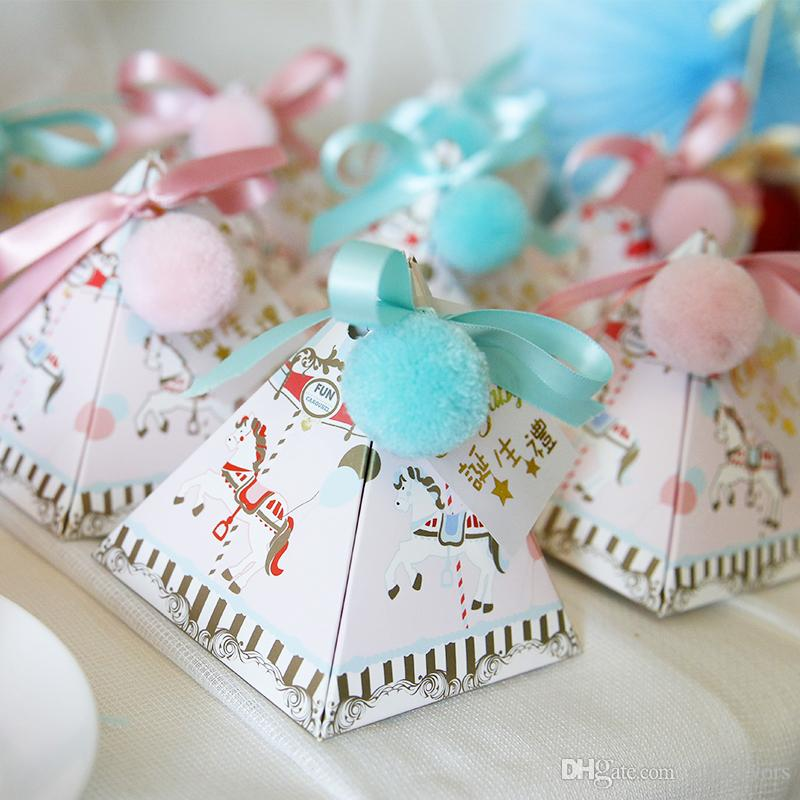 Triangle Design Candy Boxes Chocolate Box Girl Boy Baby Shower Favor