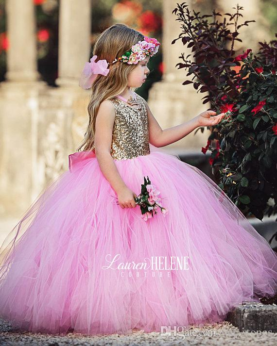 Puffy Pink Tulle Little Girls Pageant Dresses Top Gold Sequin Floor Length Flower Girl Dress Bow Sash Formal Kids Ball Gowns 2017