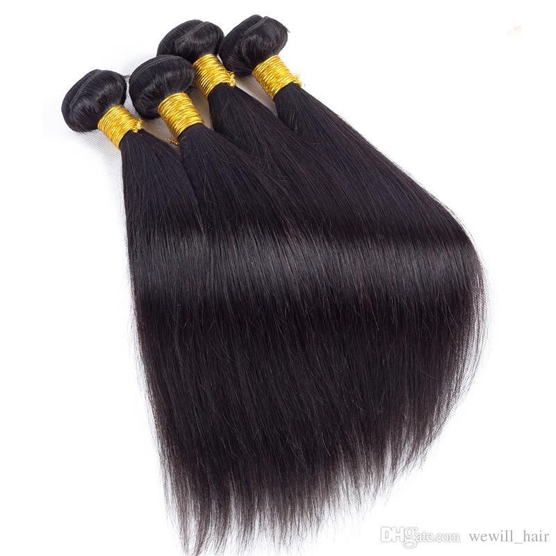 Paquetes de armadura de cabello humano recto brasileño visón Nueva llegada Trama de cabello virgen peruano sin procesar Extensiones de cabello humano Remy sólo para usted
