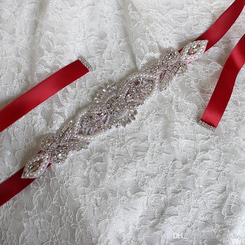 Роскошный свадебный ремень со стразами Свадебное платье Свадебные аксессуары Белый слоновой кости Румяна Черный Красный Серебряный Свадебные пояса Готово к отправке