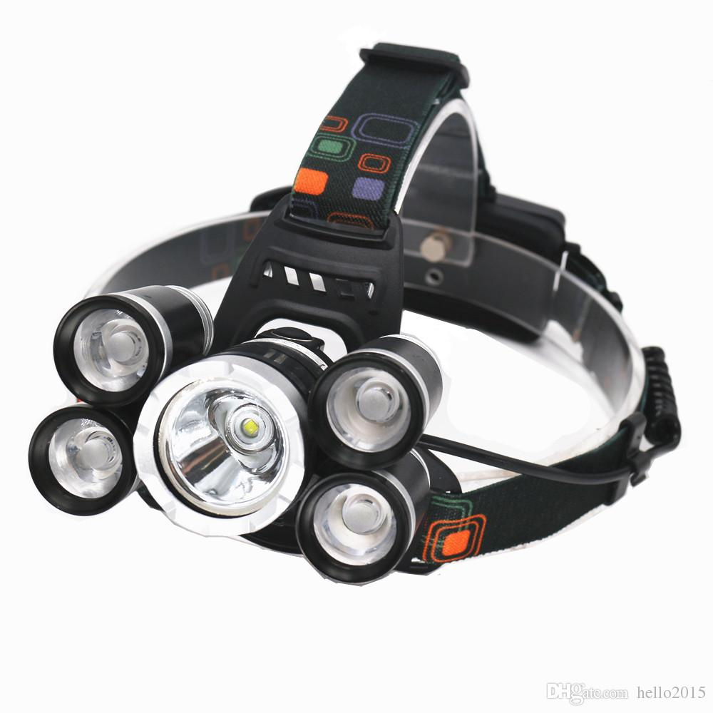 Rechargeable 18000lm 5 led Zoomable phare ZOOM phare Chasse lampe pêche Vélo lumière + Voiture AC / Chargeur