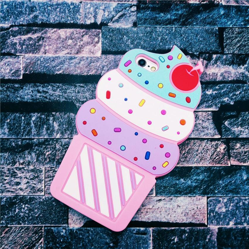 New Christmas Halloween gift 3D cute Cherry ice cream soft silicone case For iPhone 5 5s SE 5C 6 7 6s plus 7 plus 4.7 5.5